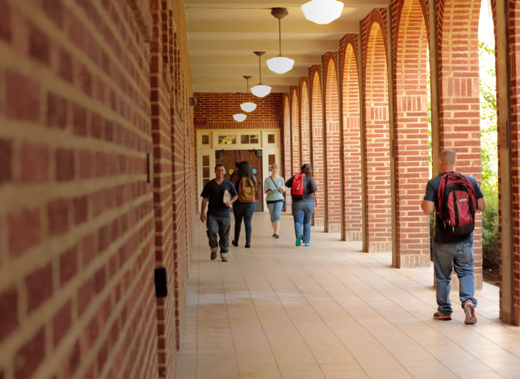 photo of Fresno City College outdoor hallway
