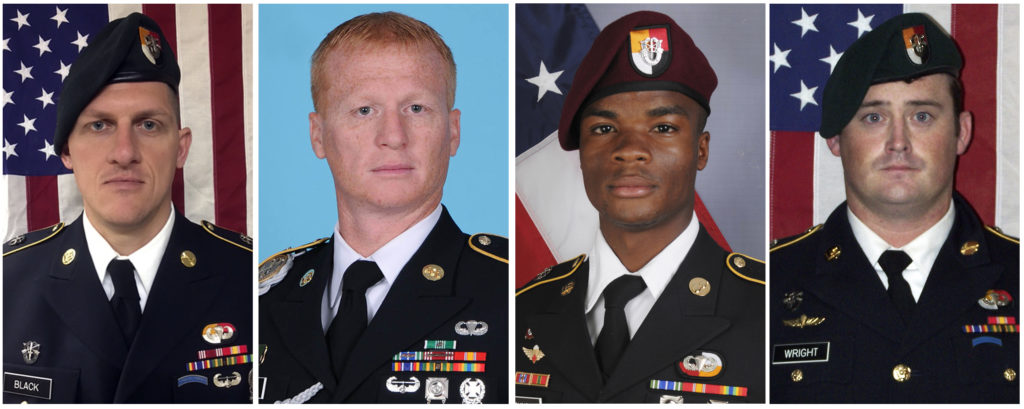 Pictures of four U.S. servicemen killed in Niger.
