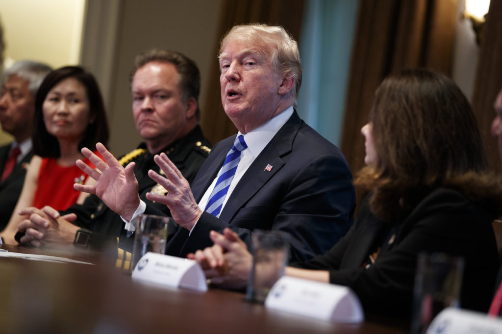 President Donald Trump speaks during a roundtable on immigration policy.