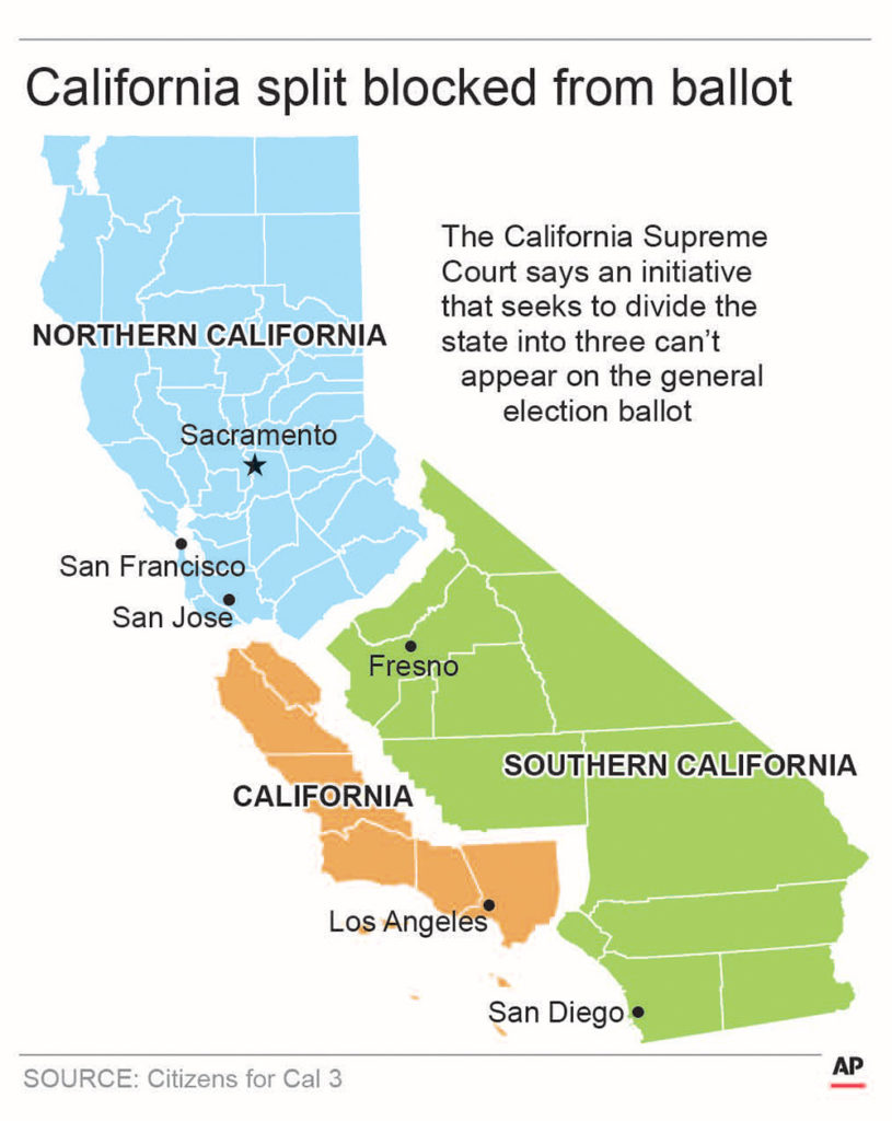Graphic of the 3 Californias proposali
