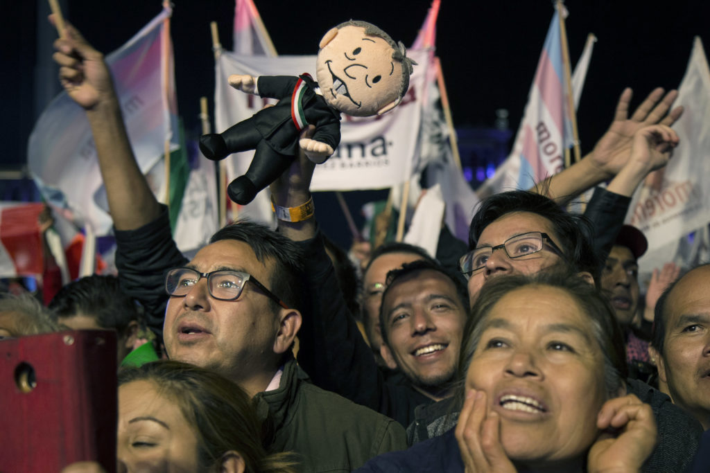 Photo of supporters cheering ndres Manuel Lopez Obrador's victory speech