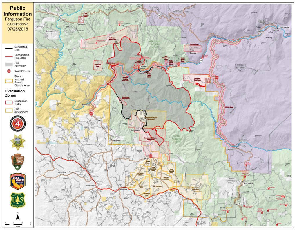 Map of the Ferguson Fire on July 25, 2018