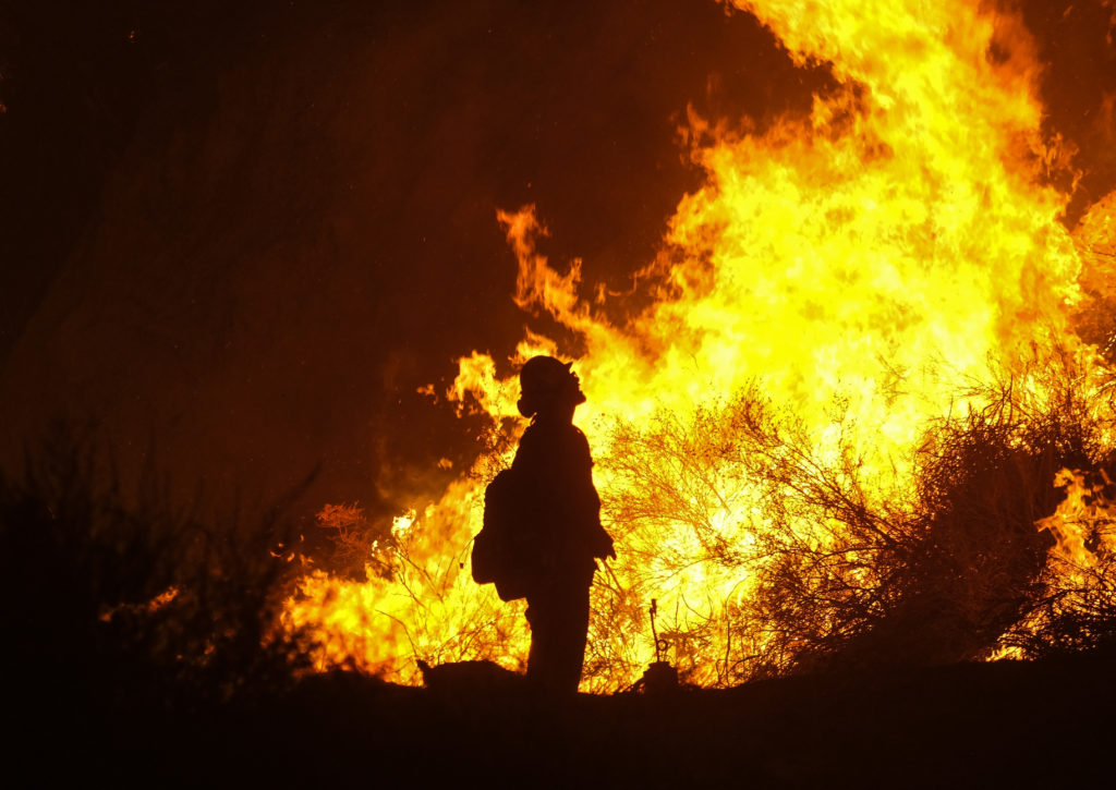 Photo of firefighter at the Holy Fire