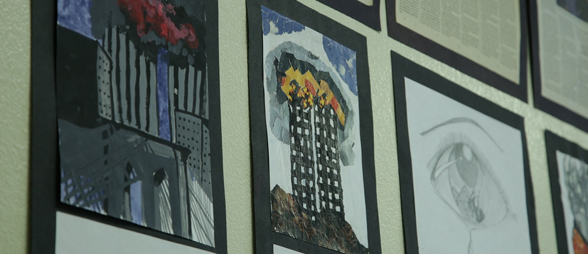 Photo of 9/11 art at McLane High School in Fresno