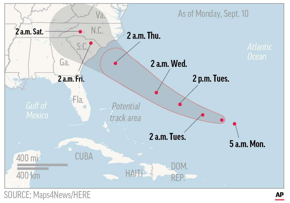 Photo of map showing probable path of Hurricane Florence.