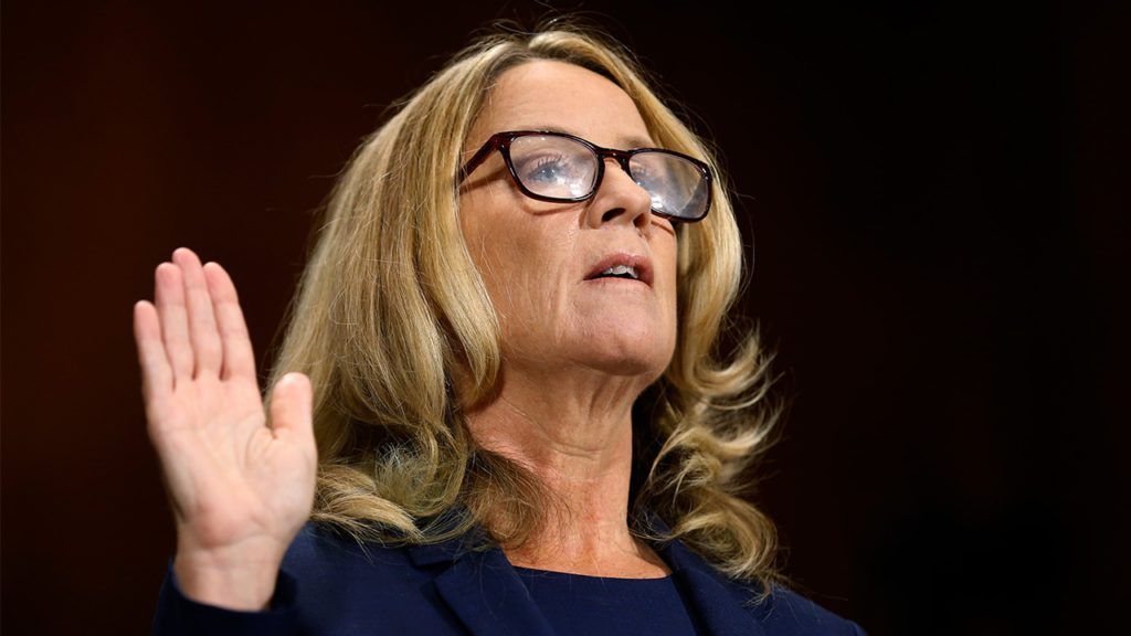 Photo of Christine Blasey Ford being sworn in