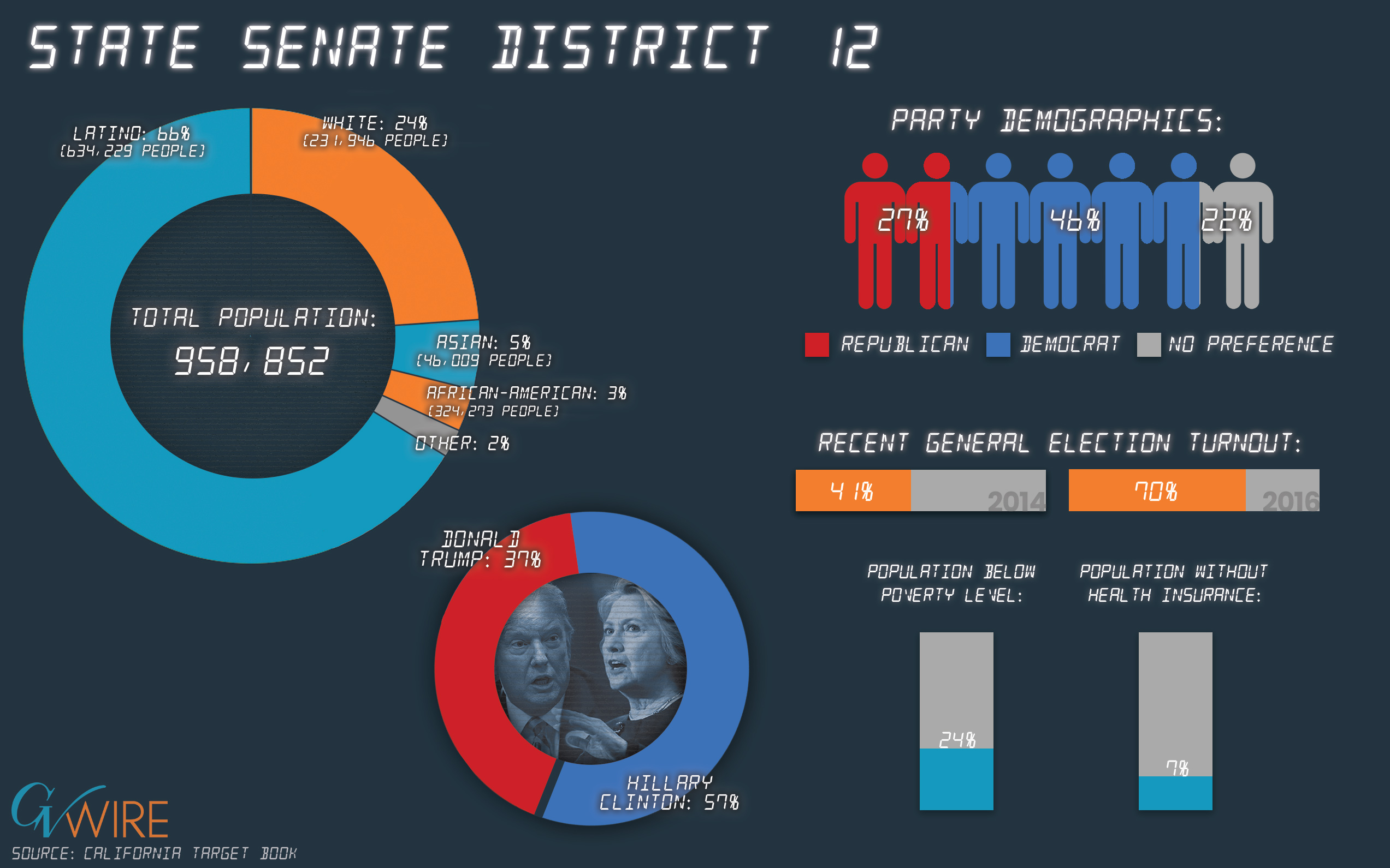 Infographic showing State Senate 12 population demographics