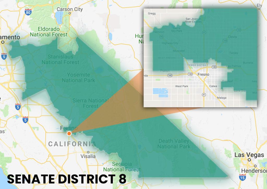 Map showing Senate District 8 Boundaries