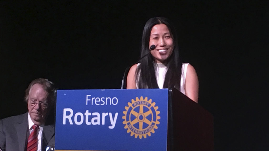 Congressional candidate Elizabeth Heng speaks at Fresno's Downtown Rotary Club meeting