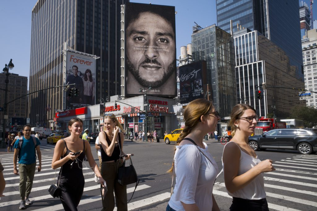Photo of Colin Kaepernick's Nike ad on a billboard in New York