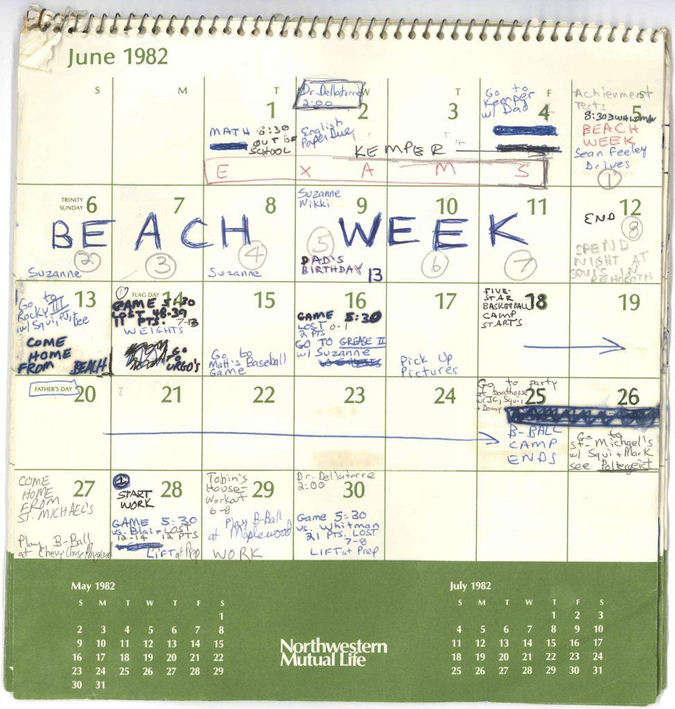 Photo of Judge Brett Kavanaugh's calendar, from the Summer of 1982