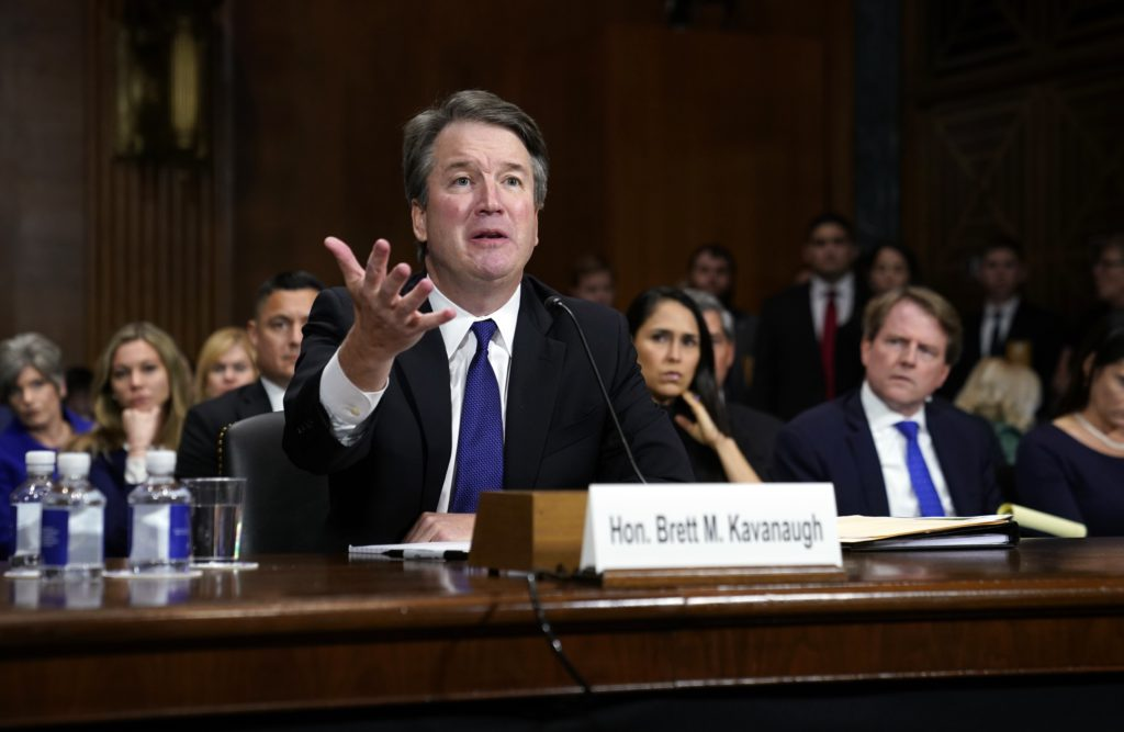 Photo of Brett Kavanaugh crying at his hearing