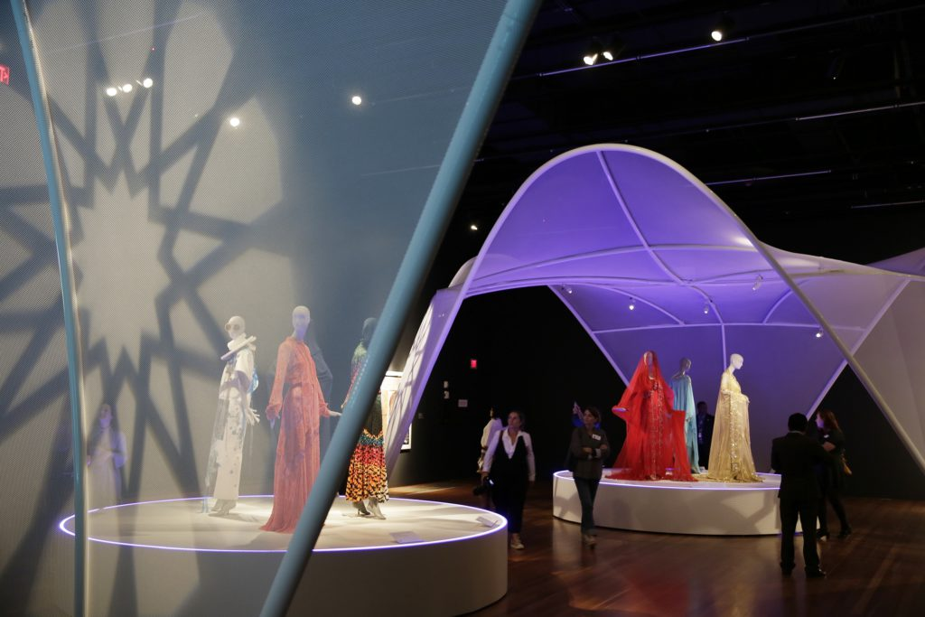 Photo of exhibit displaying Muslim fashion in San Francisco