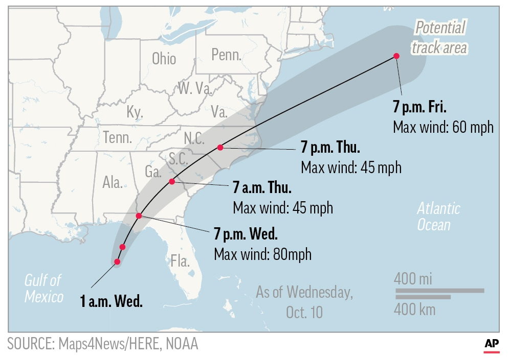 Map showing the path of probable hurricane Michael