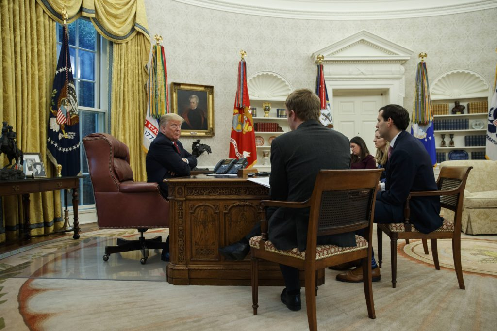 Photo of President Donald Trump during an interview in the Oval Office