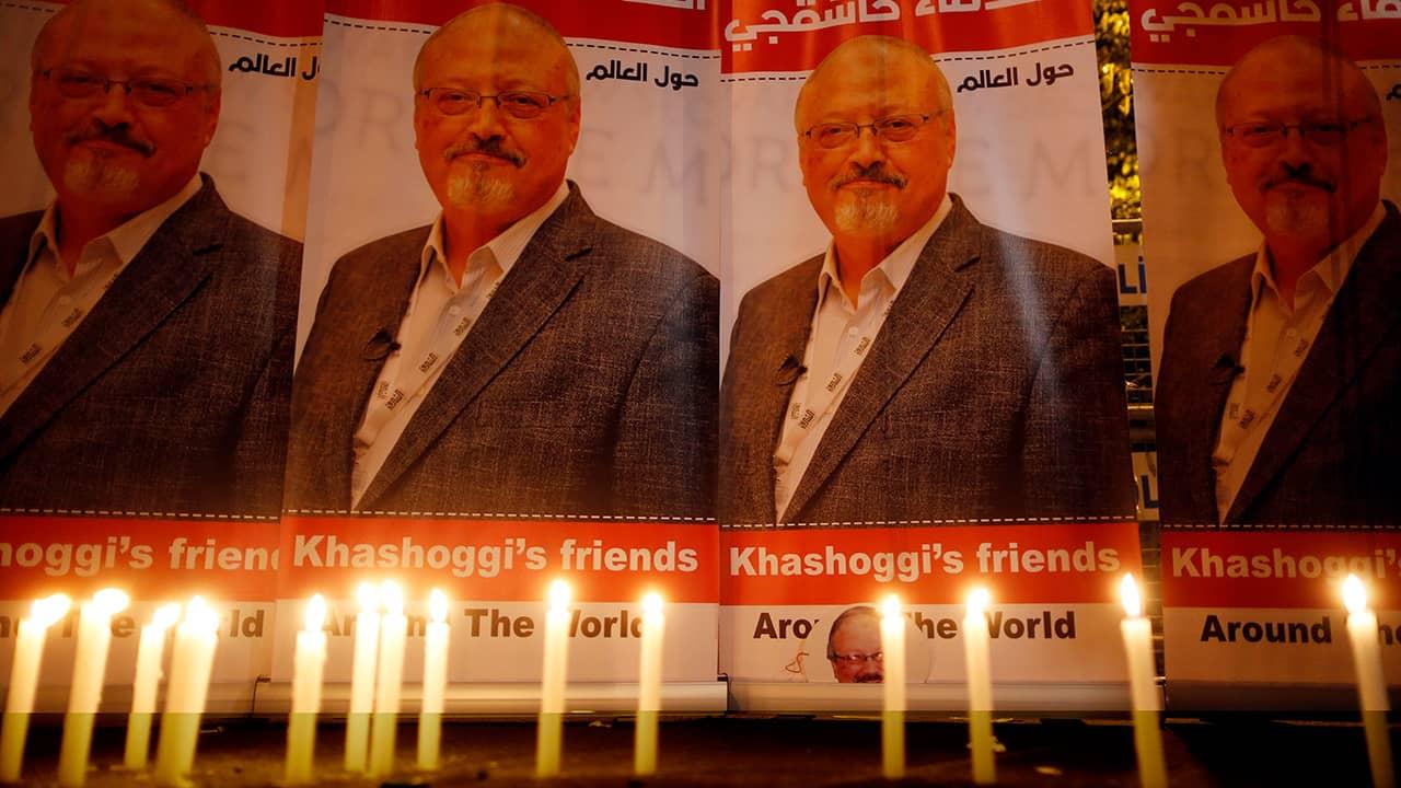 Photo of candles lit for Jamal Khashoggi