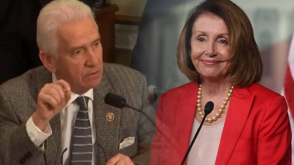 Twinned up photos of Reps. Jim Costa and Nancy Pelosi