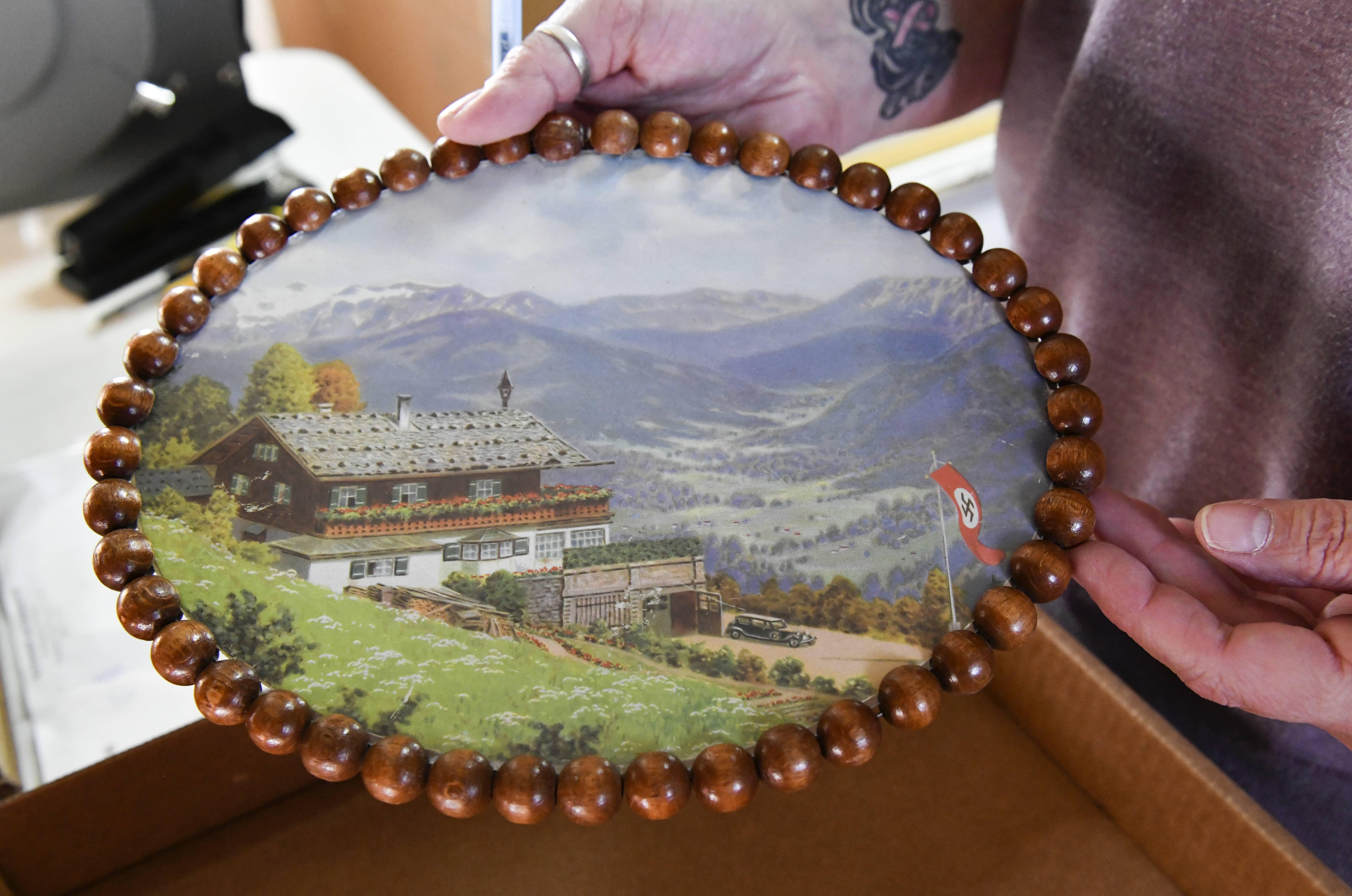 Photo of a souvenir print depicting the Berghof, Adolf Hitler's mountain retreat