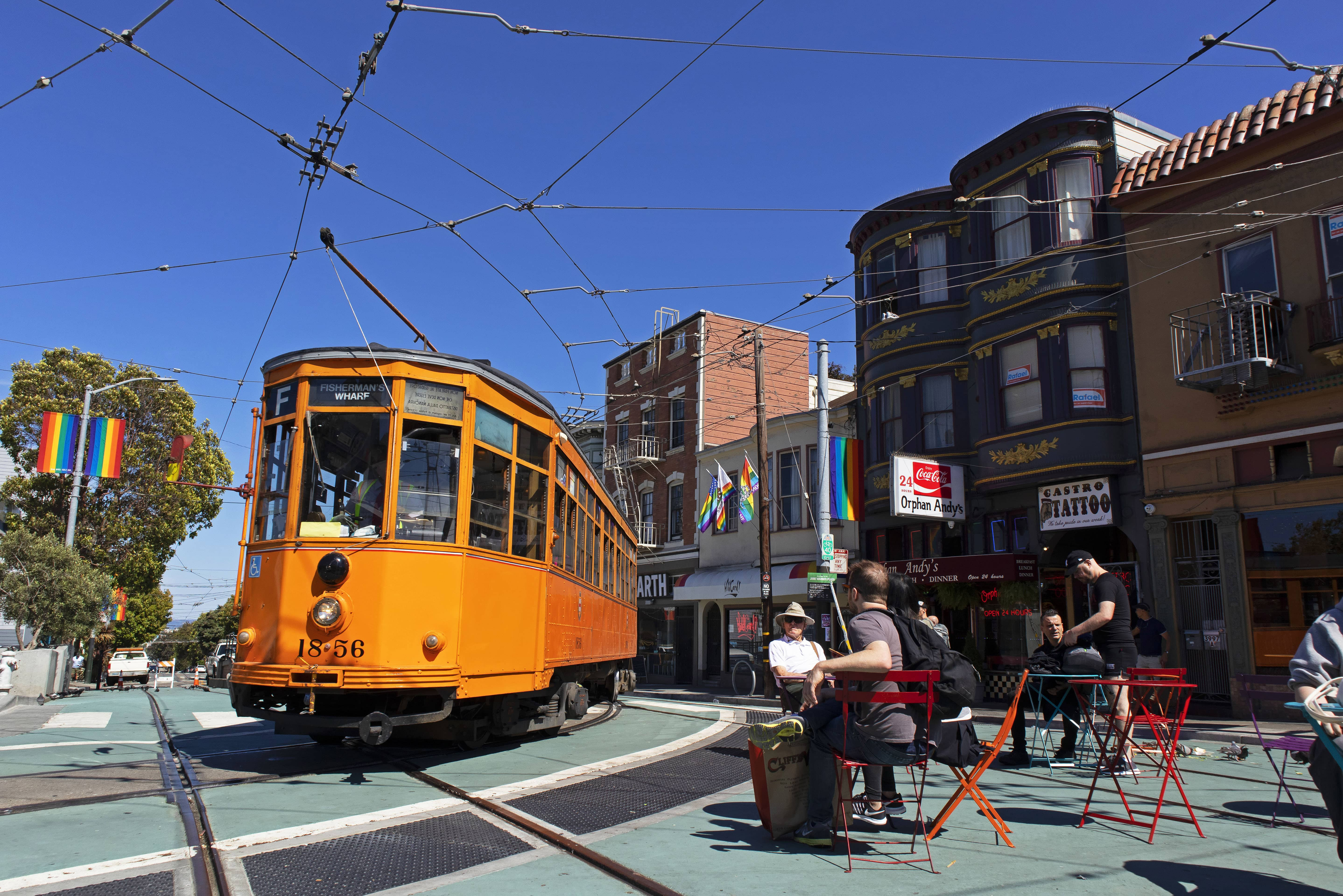 Photo of a streetcar in San Francisco's Castro neighborhood