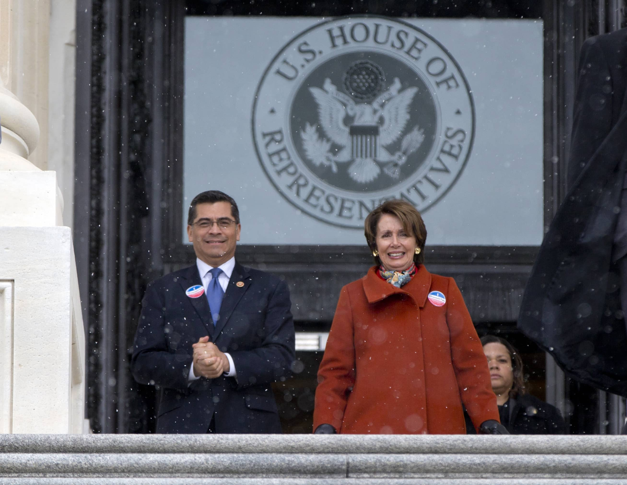 Photo of Xavier Becerra and Nancy Pelosi