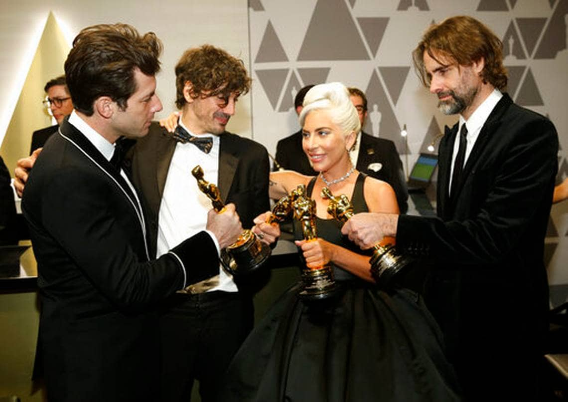 Photo of Mark Ronson, from left, Anthony Rossomando, Lady Gaga, and Andrew Wyatt