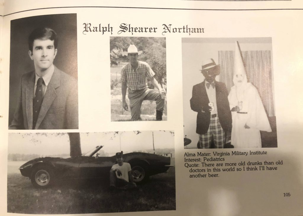 Photo of Virginia Gov. Ralph Northam's page in his 1984 Eastern Virginia Medical School yearbook