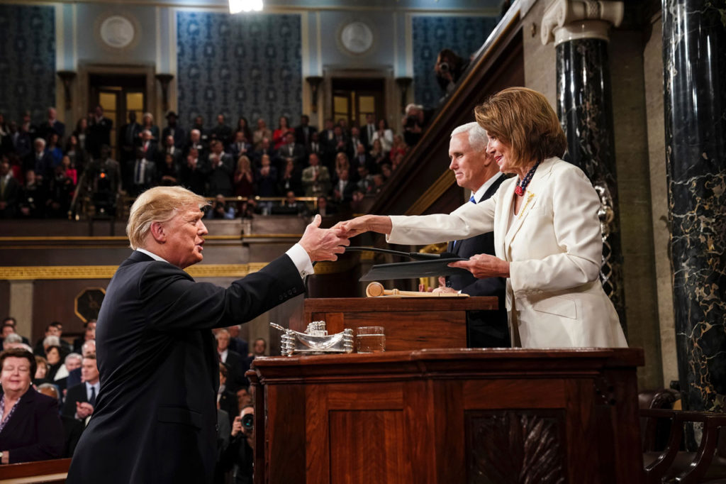 Photo of Trump and Pelosi shaking hands