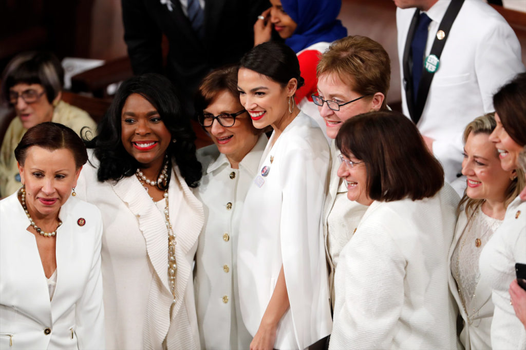 Photo of Democratic women wearing white at SOTU