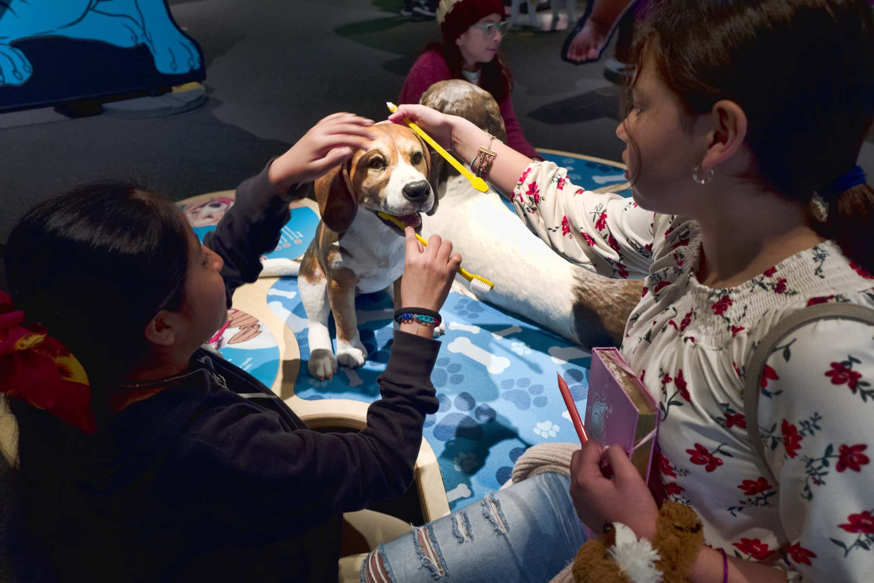 Photo of students from the Theodore T. Alexander Science Center School practicing brushing dog's teeth