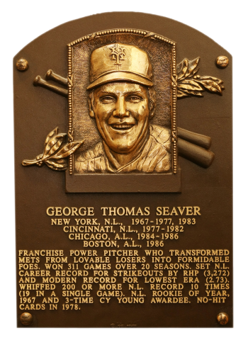 Photo of Tom Seaver's Hall of Fame plaque