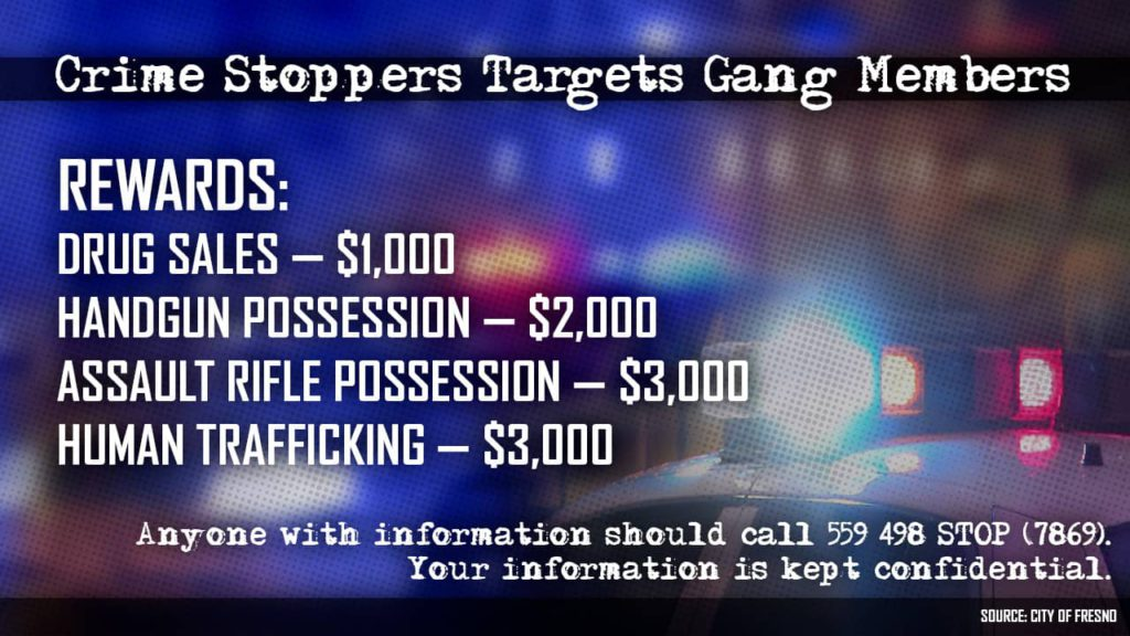 Graphic detailing Crime Stoppers rewards for gang crimes
