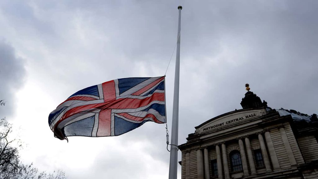 Photo of the Union Jack flying at half staff in Londson