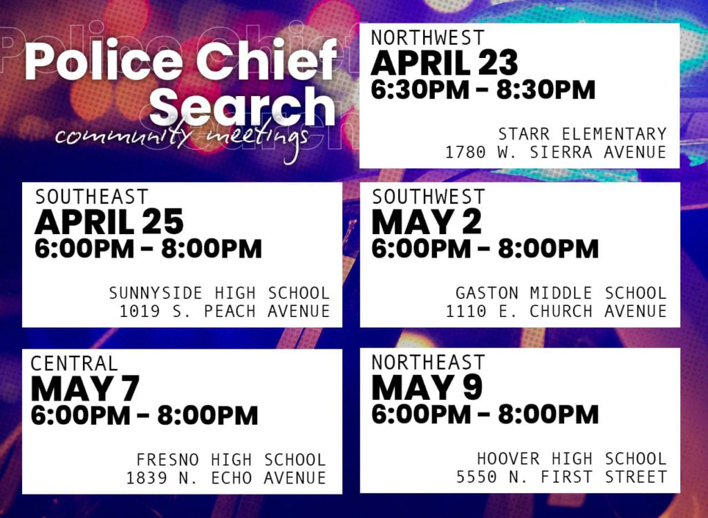 graphic of community meetings on Fresno police chief search