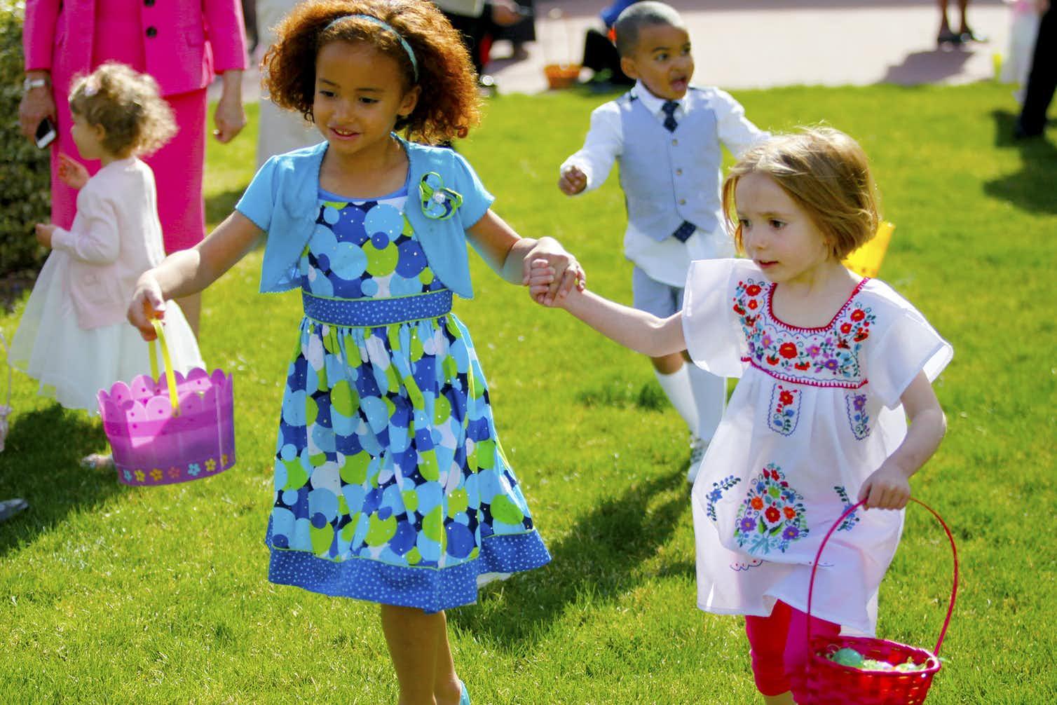 Photo of children on an Easter egg hunt