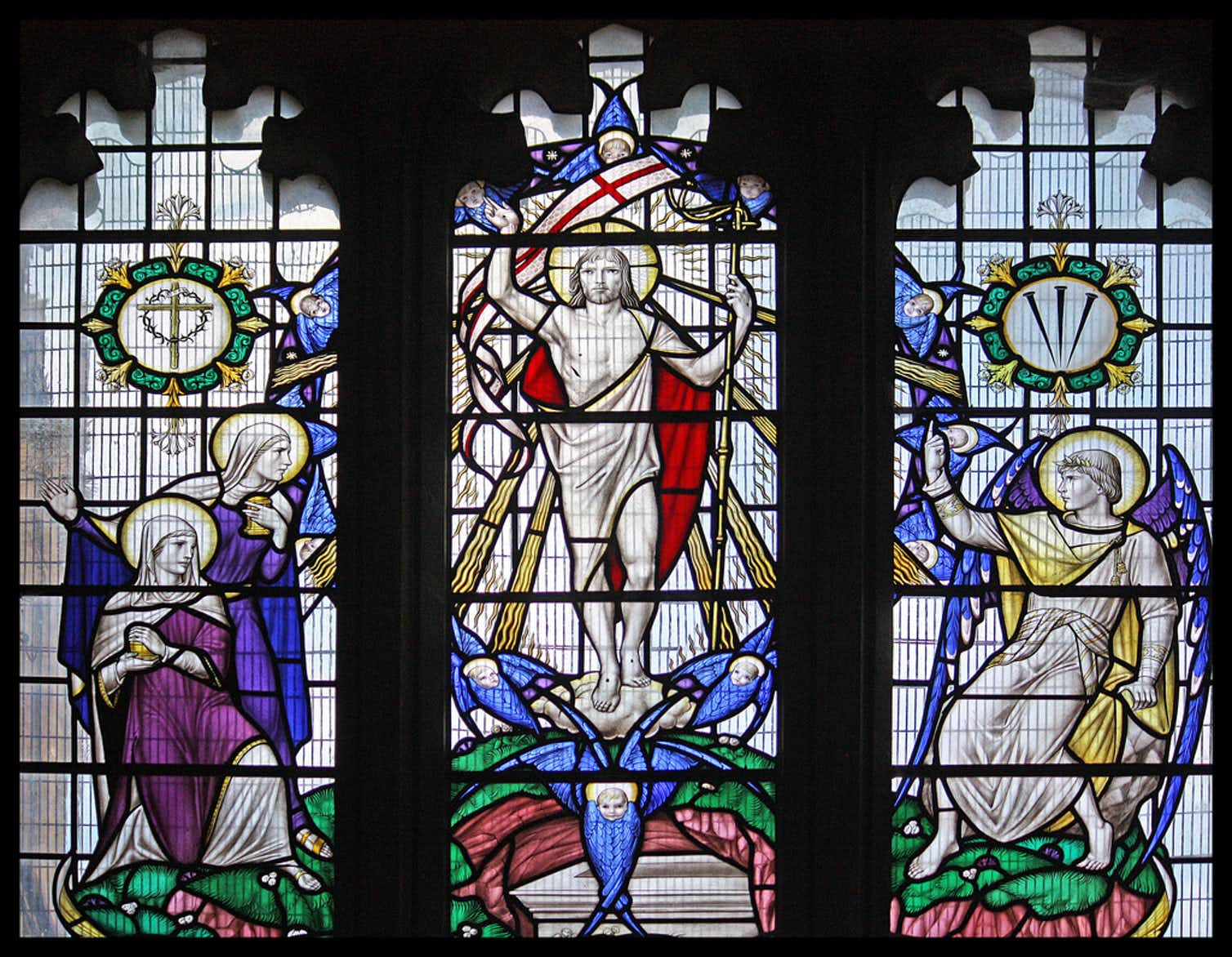 Photo of stained glass windows in church