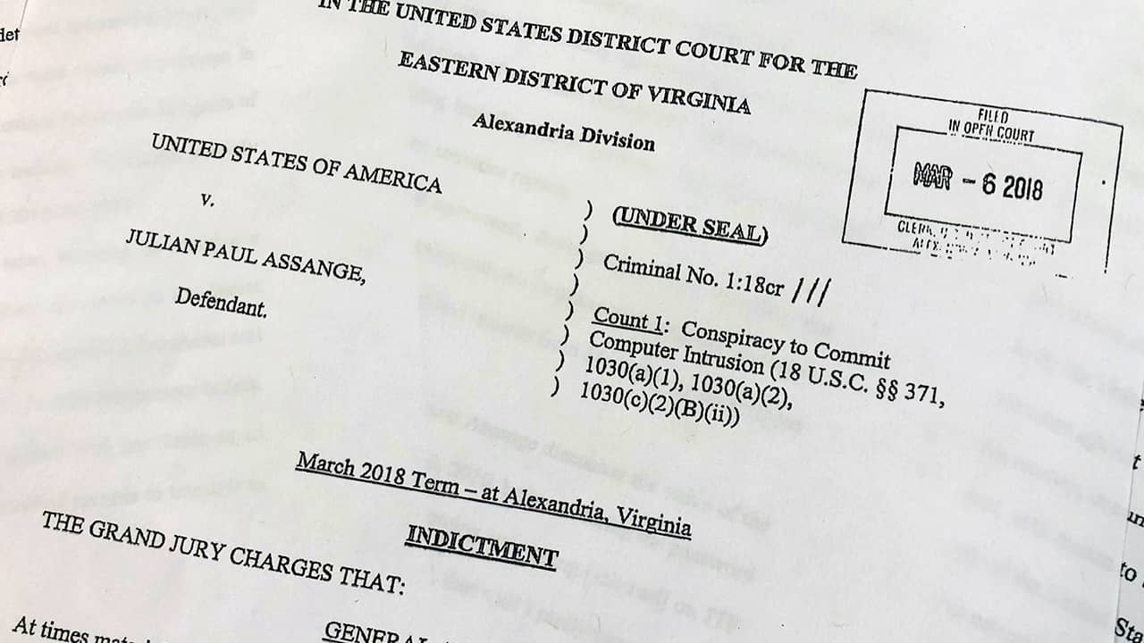 Photo of indictment against Julian Assange