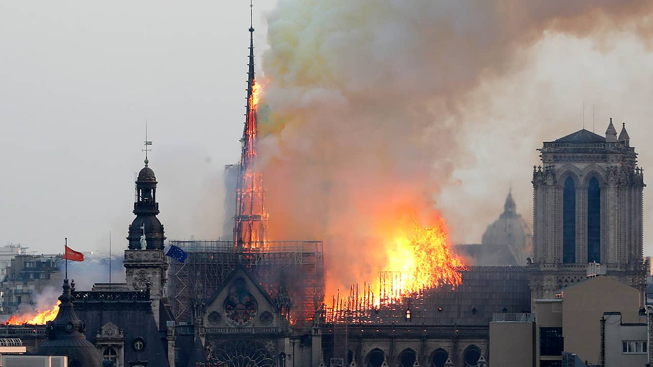 Photo of Notre Dame cathedral as it burns in Paris