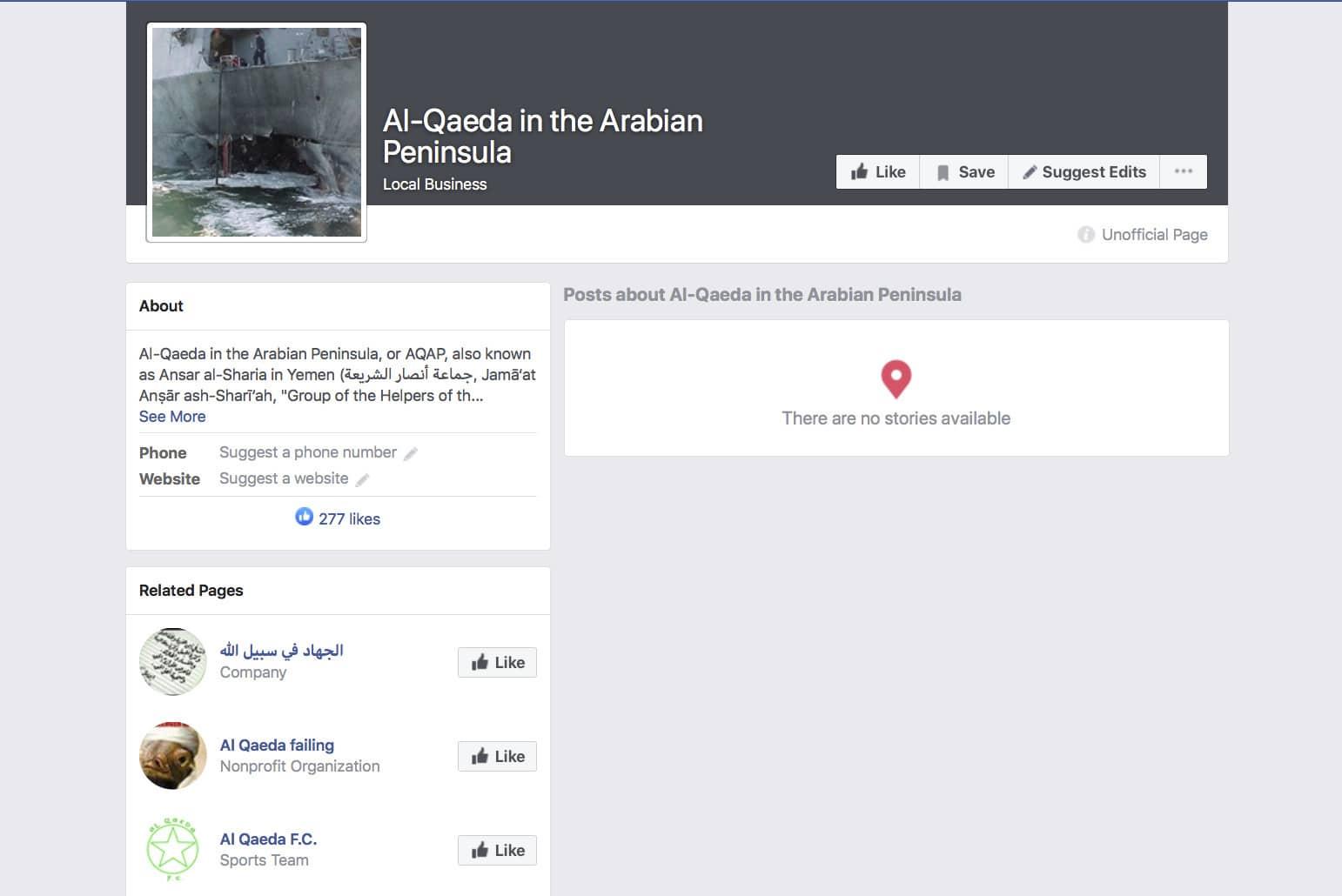 Photo of a Facebook terror group