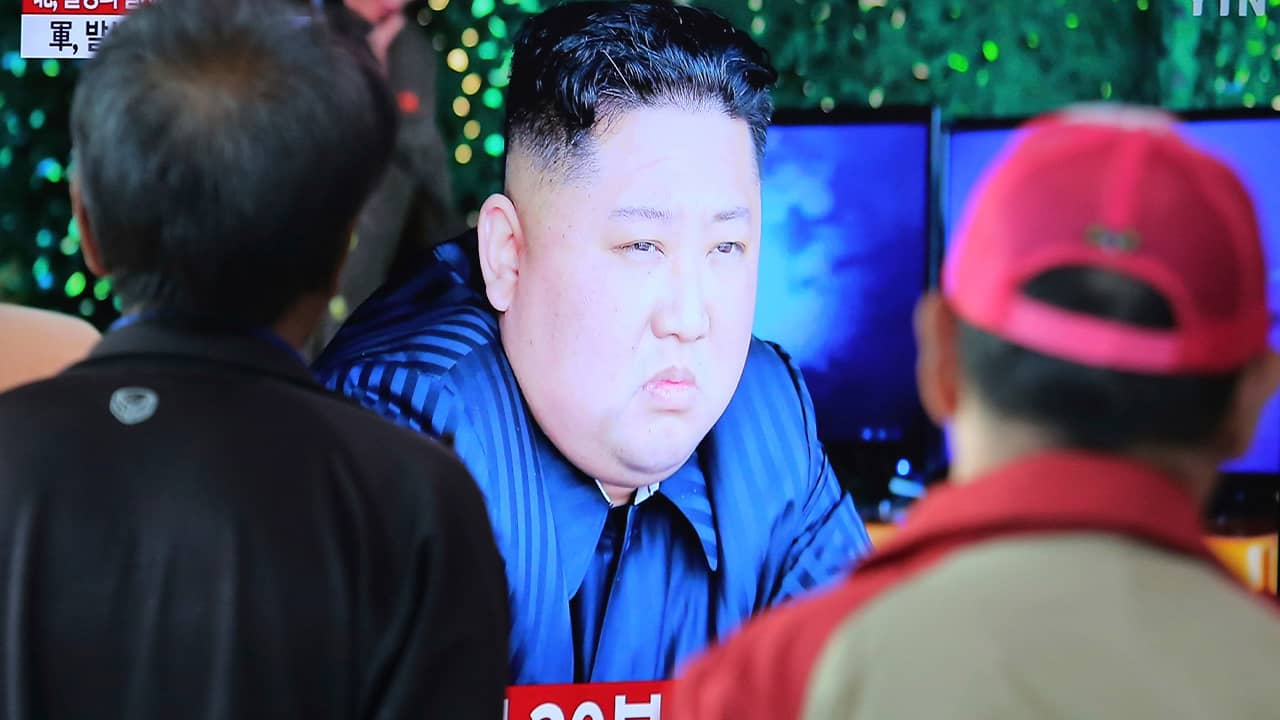 Photo of Kim Jong Un on a television