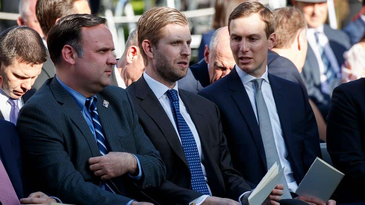 Photo of White House Social Media Director Dan Scavino, Eric Trump, and White House senior advisor Jared Kushner