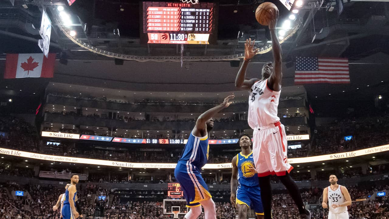 Photo of Pascal Siakam driving to the basket