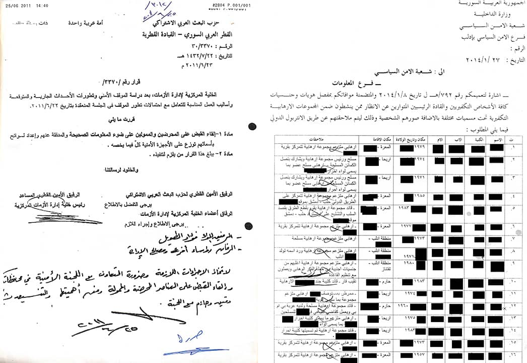 Photo of Syrian documents