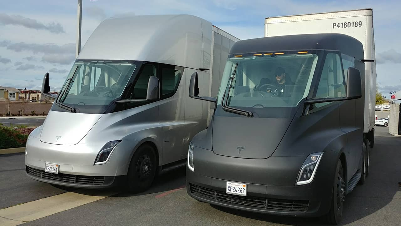 Photo of prototypes of Tesla trucks