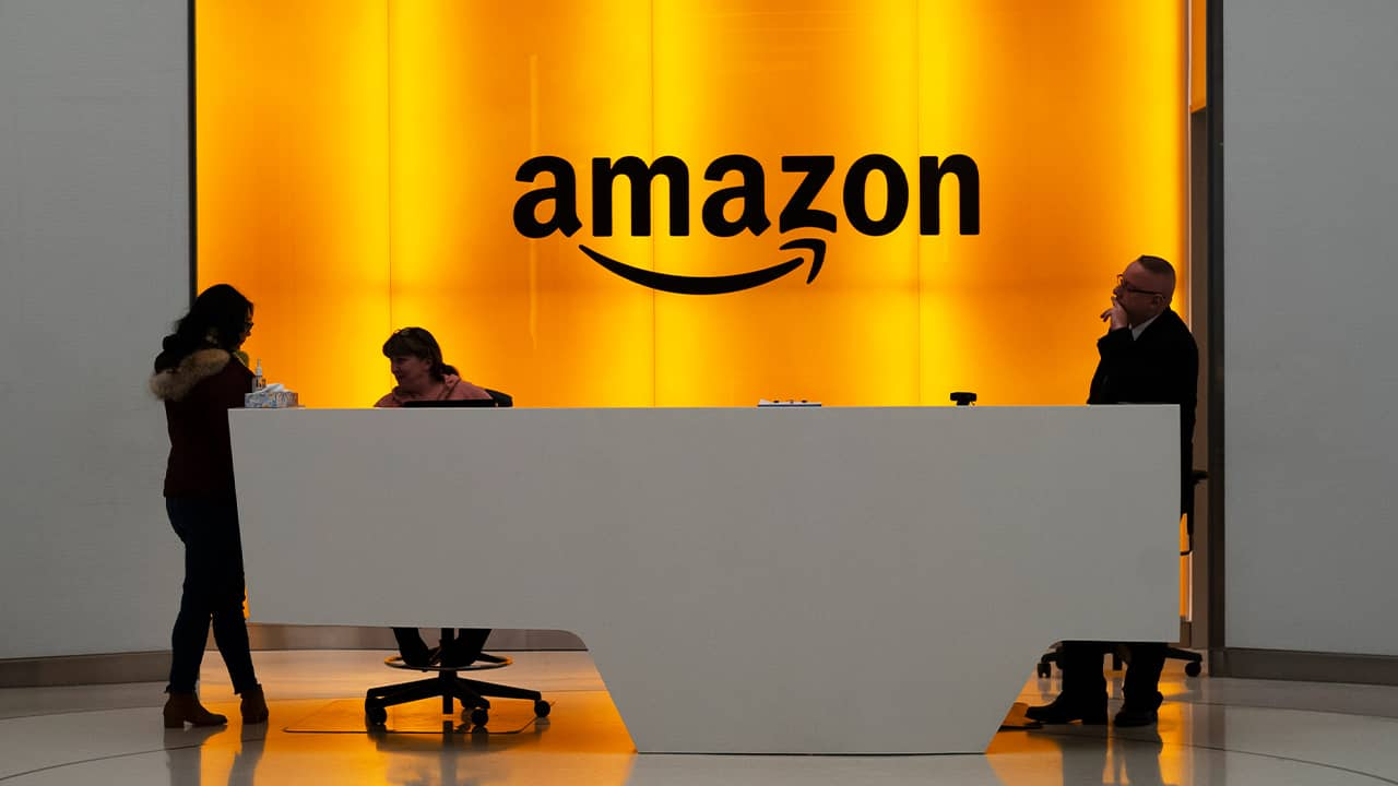 Photo of the lobby for the Amazon offices in New York