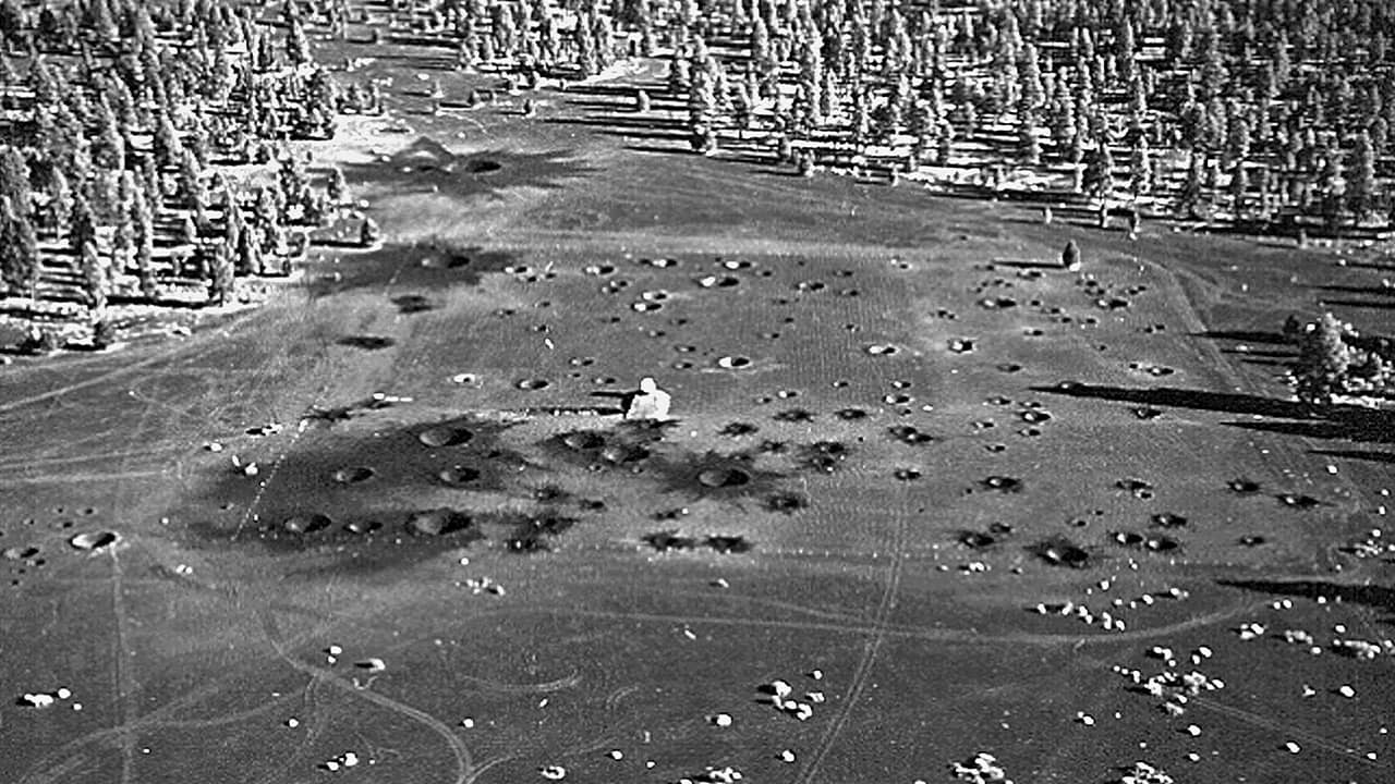 Photo of man-made craters in Flagstaff, Az. in 1968