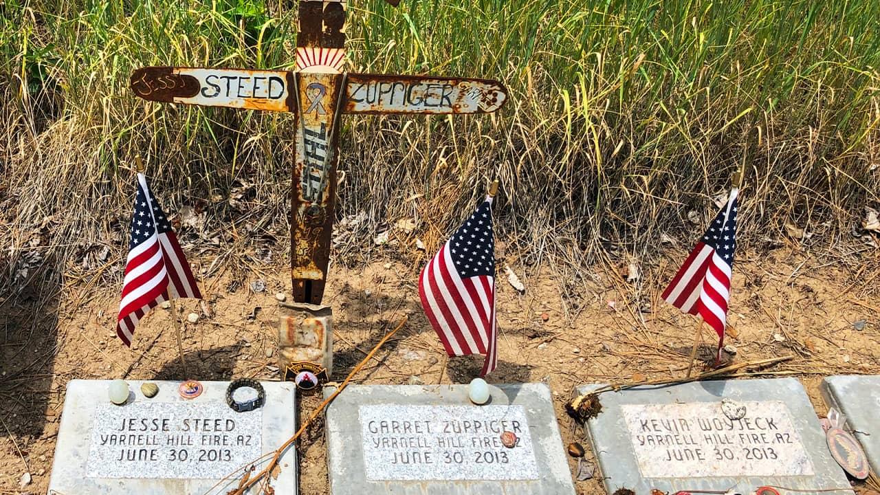 Photo of firefighter memorial stones