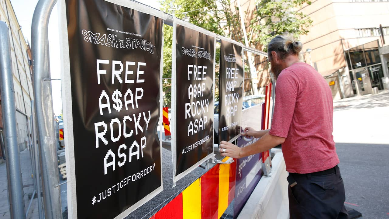 "Photo of ""Free A$AP Rocky"" signs in Stockholm"