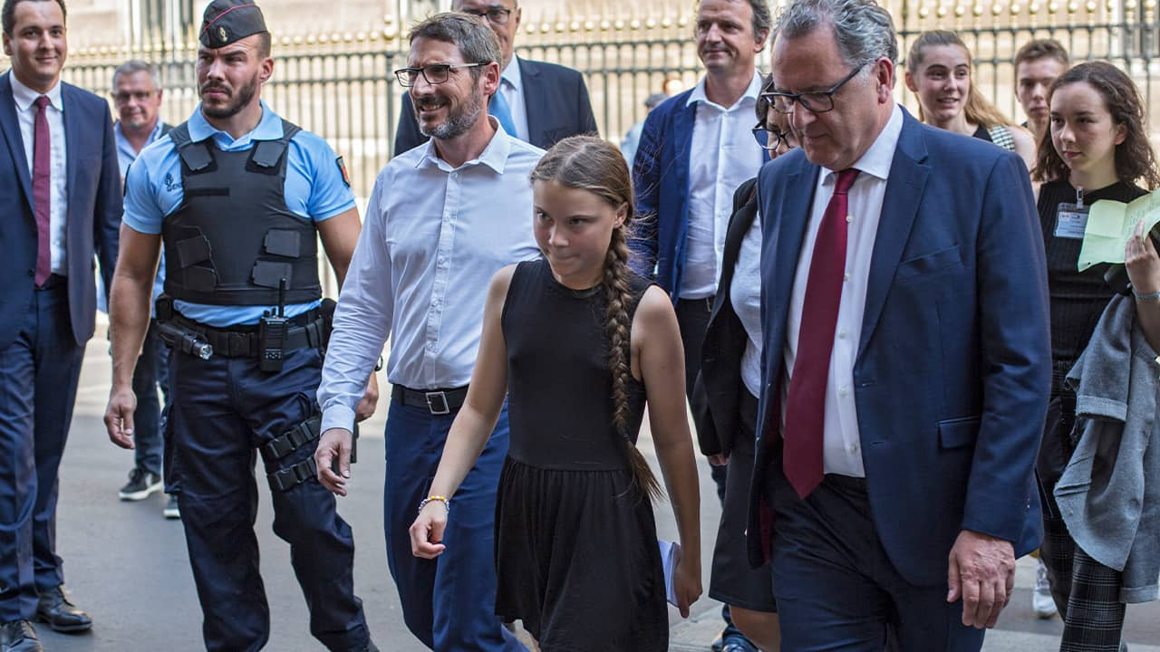 Photo of Greta Thunberg at the French National Assembly