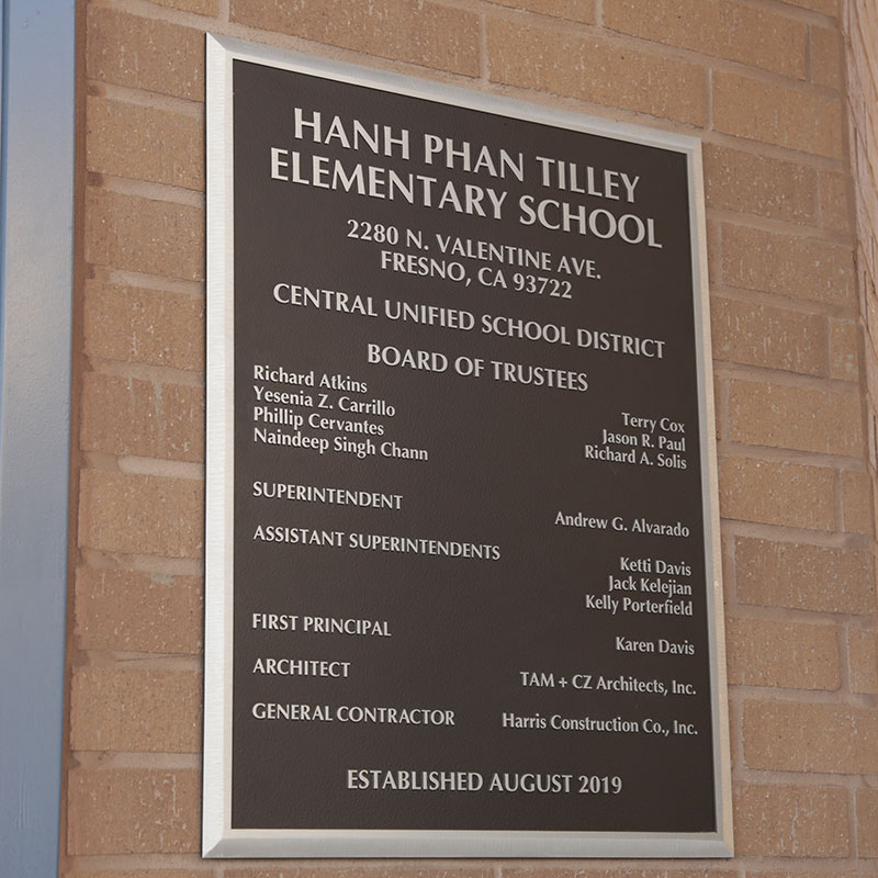 Photo of plaque at Tilley Elementary School