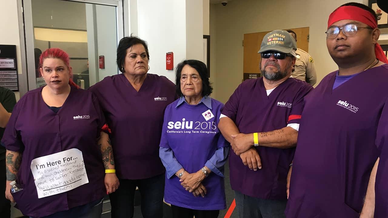 Photo of Holly Hickenbottom, Martha Valladarez, Dolores Huerta, Roberto De La Cruz and Don Meas